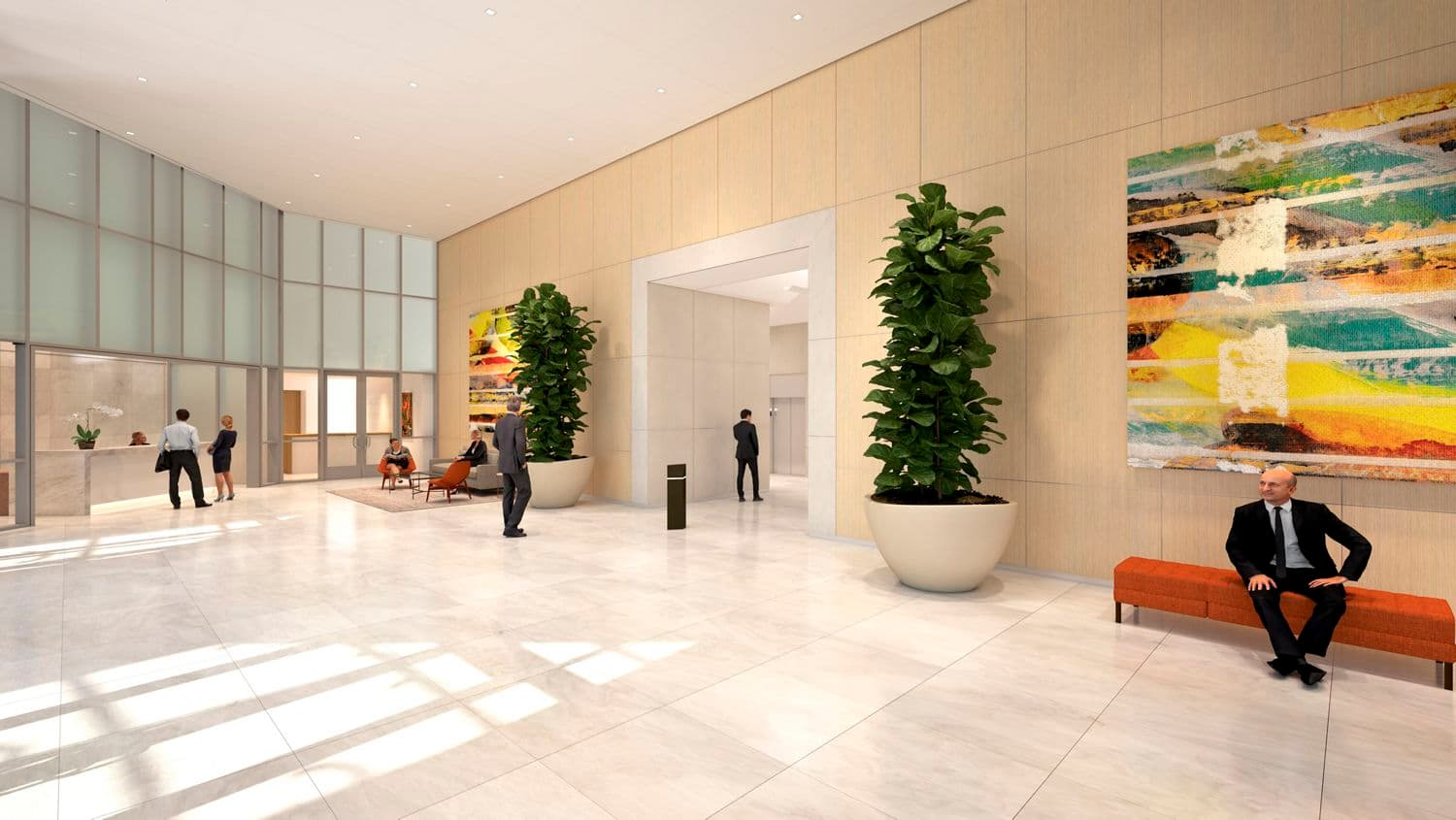 Rendering view of lobby at 2121 Avenue of the Stars in Los Angeles, CA.