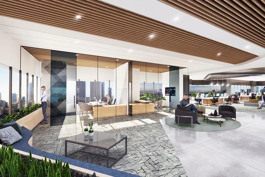 Rendering interior view of 2121 Avenue of the Stars in Los Angeles, CA.