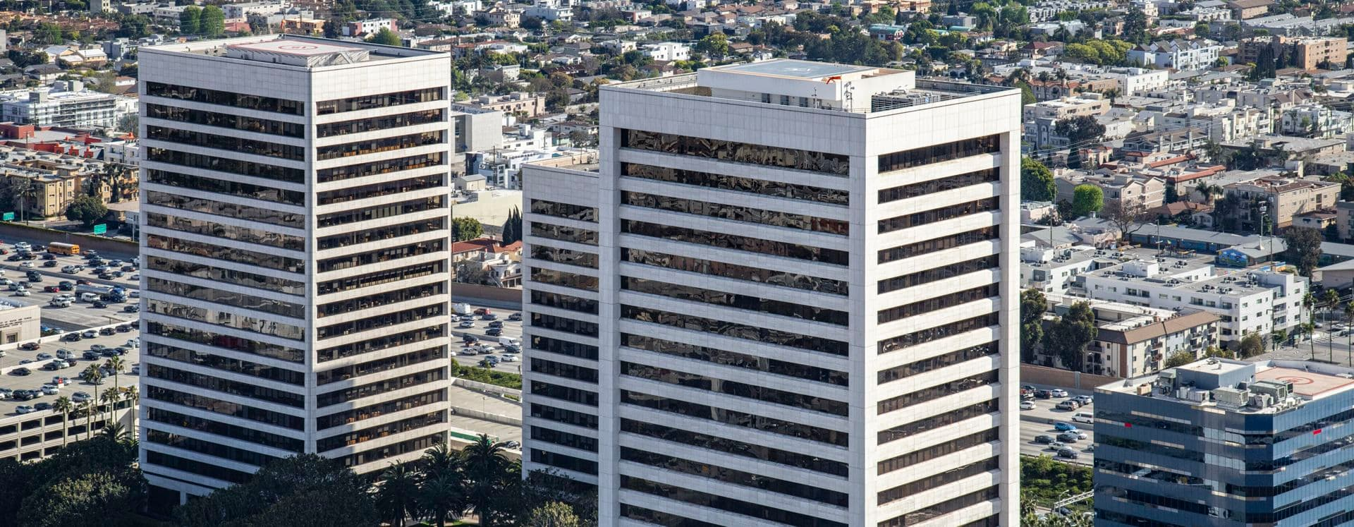 Aerial photography of Westwood Gateway in Los Angeles, CA