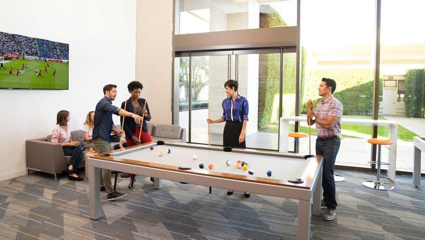 Game room and customer lounge at Westwood Gateway, 11150 Santa Monica Blvd, Los Angeles, Ca 90025