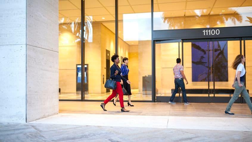 Exterior lifestyle shot of Westwood Gateway, 11100 Santa Monica Blvd, Los Angeles, Ca 90025