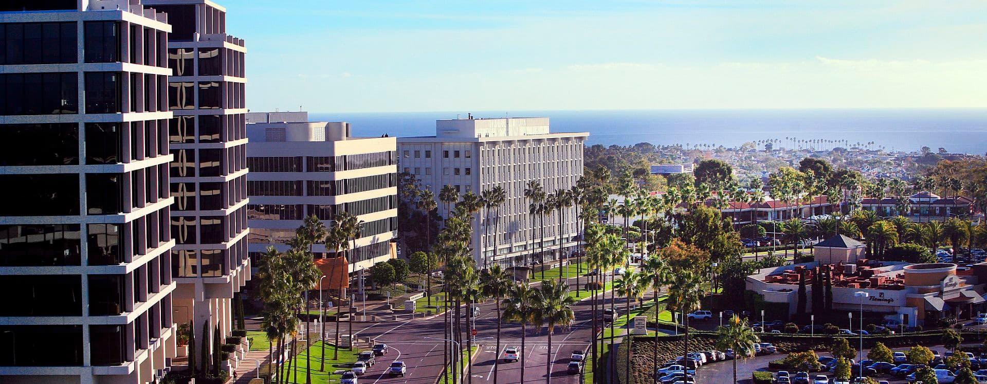 Aerial photography of 500 block of Newport Center, Newport, Ca