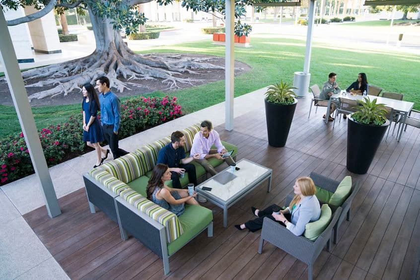 Lifestyle photography of the Commons at Jamboree Center, 5 Park Plaza, Irvine, Ca