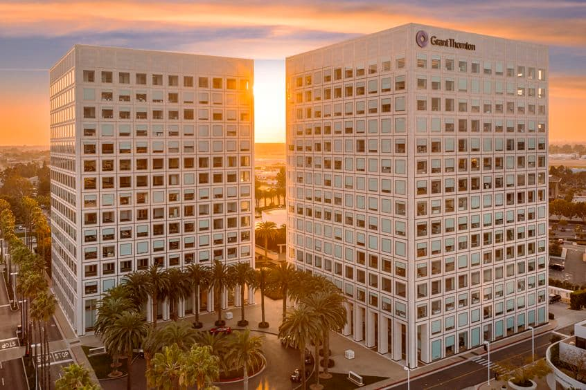 Aerial view of MacArthur Court, in Newport Beach, California.