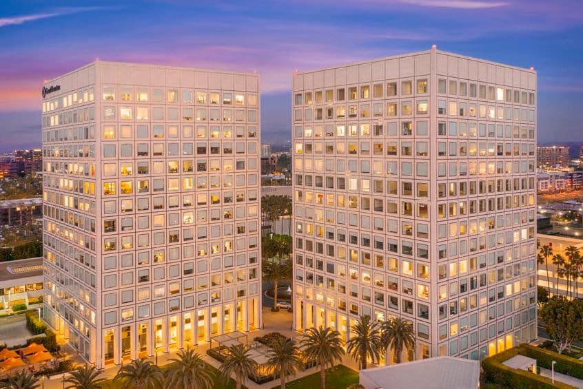 Exterior view of MacArthur Court, in Irvine, California.