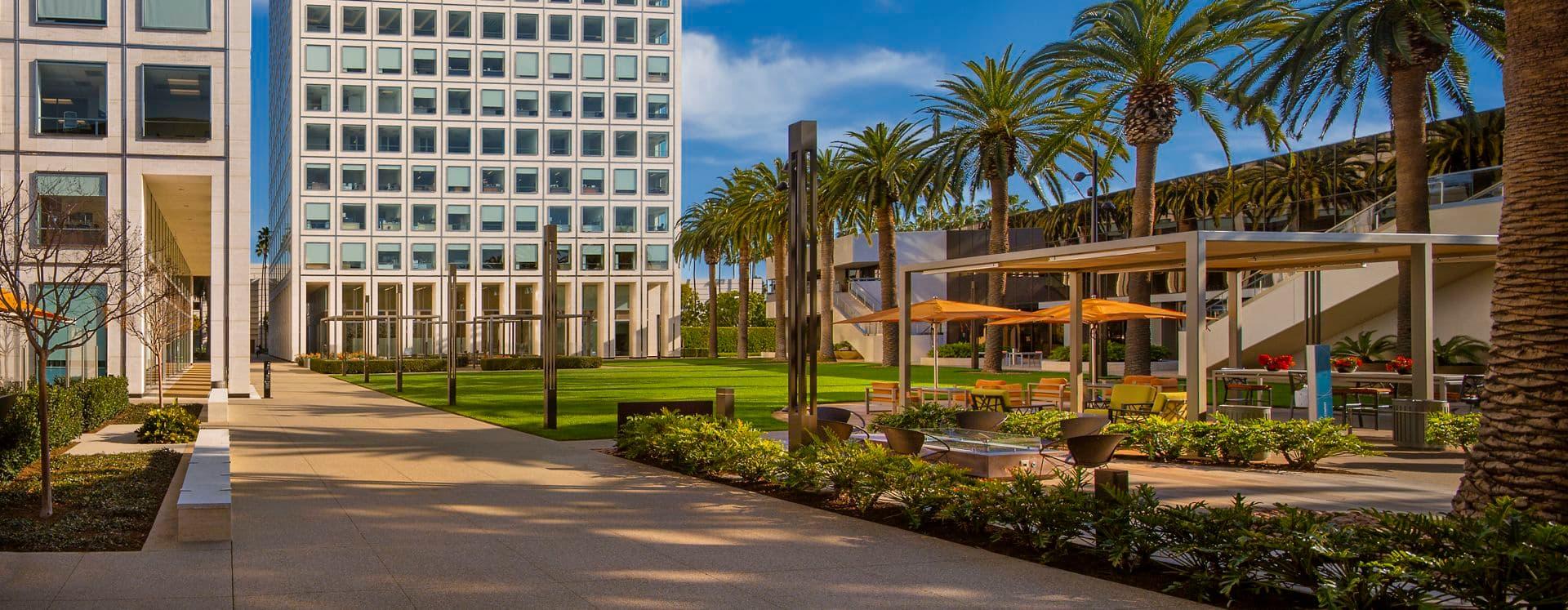 Exterior view of MacArthur Court, in Newport Beach, California.