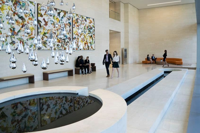Lifestyle photography of lobby at 4675 MacArthur Court, Newport Beach, Ca