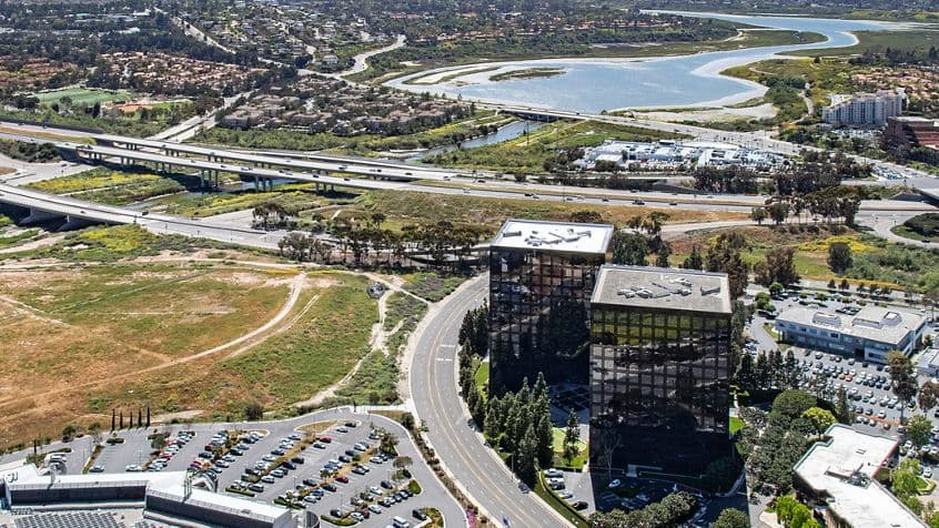 Aerial photography of Newport Gateway in Irvine, CA