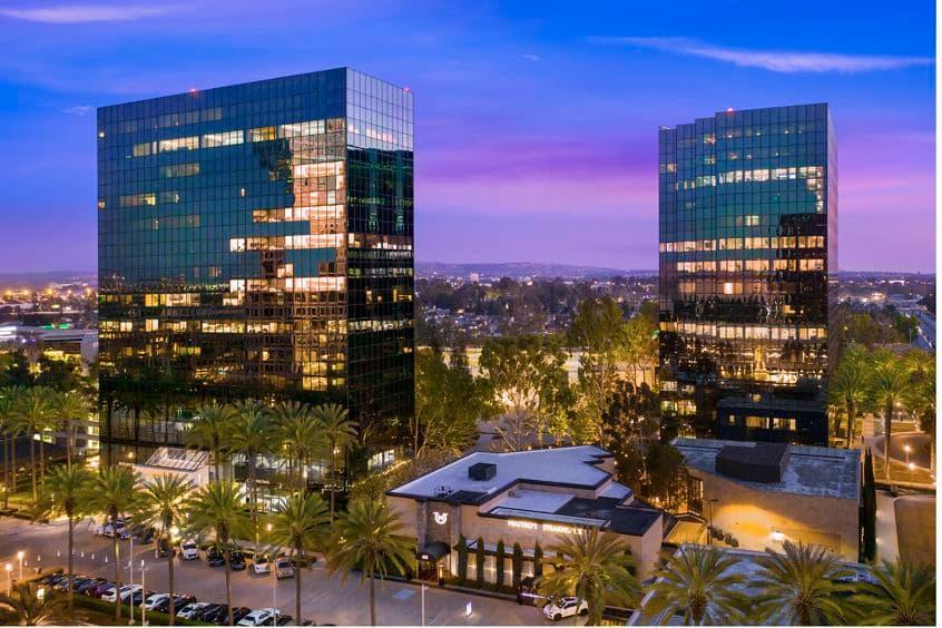 Aerial view of Pacific Arts Plaza in Costa Mesa, CA.