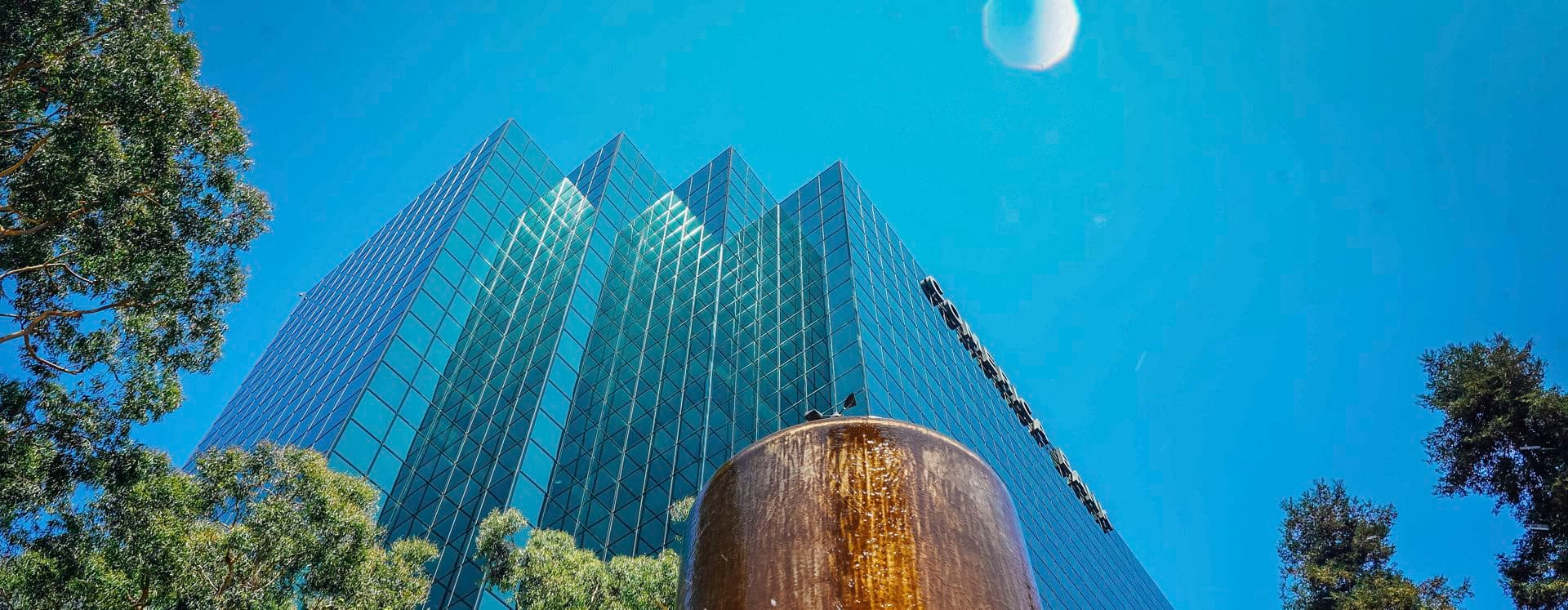 Exterior View of the 611 Anton Office Tower at Pacific Arts Plaza in Costa Mesa, CA.