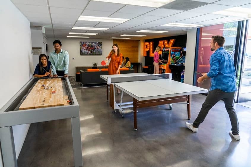 Lifestyle photography of the Game Room at Venture Park - 38 Executive Park in Irvine, CA