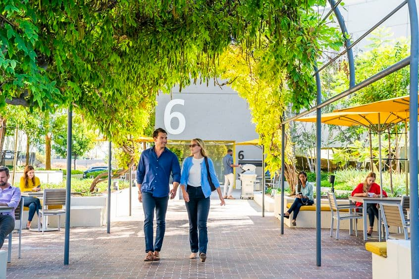 Lifestyle photography of The Commons at Venture Park near 8, 6 and 4 Executive Circle in Irvine, CA