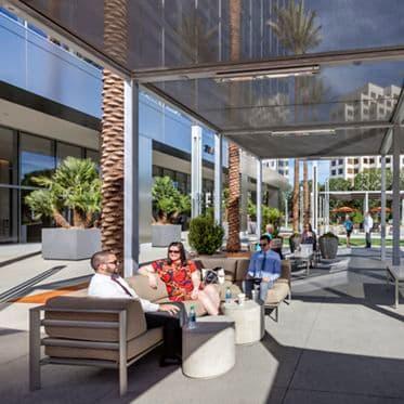 Outdoor workspace at 200 Spectrum Center office building.