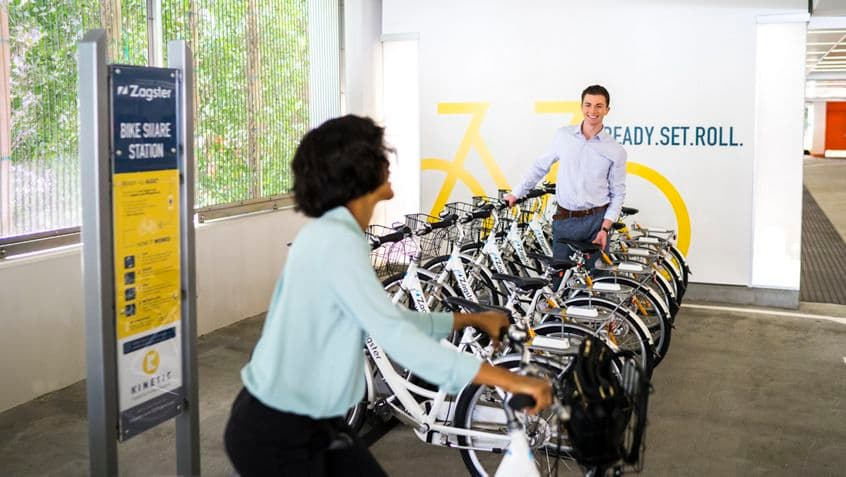 Lifestyle photography of the Zagster bike share offering at 200 Spectrum Center, Irvine, Ca