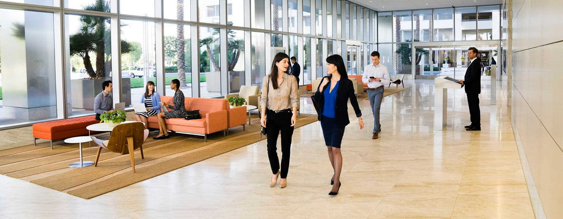 Lifestyle photography of the lobby at 400 Spectrum Center, Irvine, Ca
