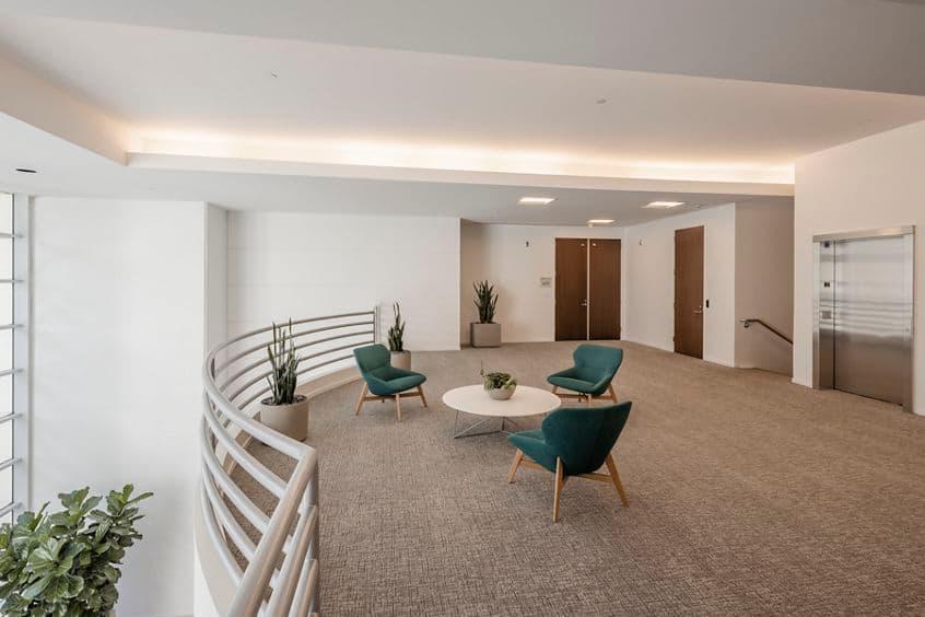 Interior view of the lobby in 2 Ada at Alton/ Ada in Irvine, CA.
