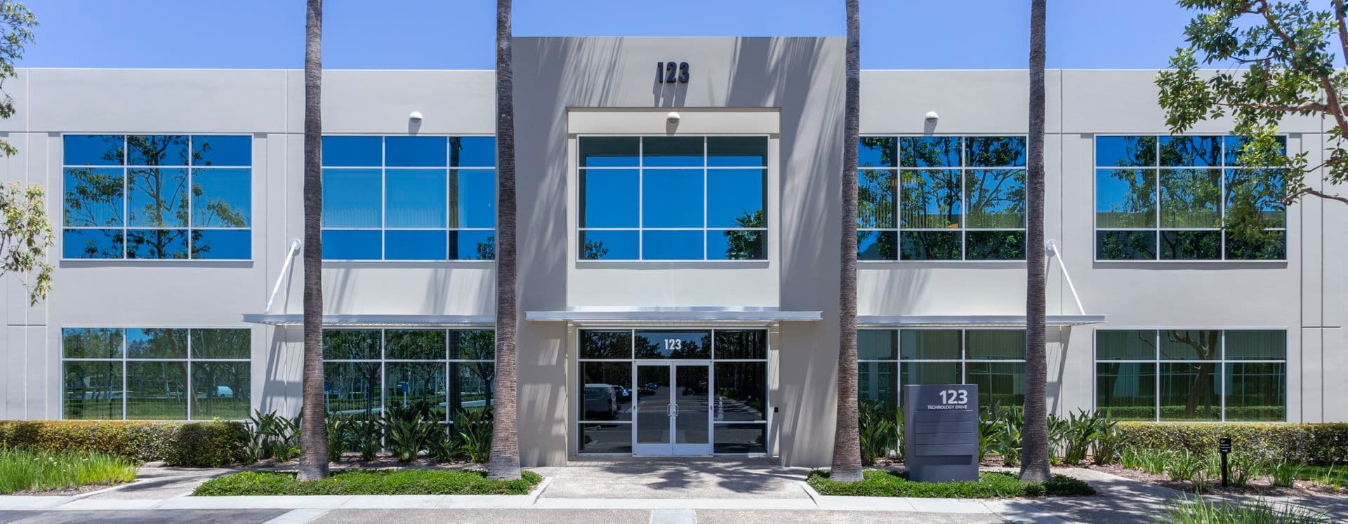 Exterior building photography of 123 Technology entry at Corporate Business Center in Irvine, CA
