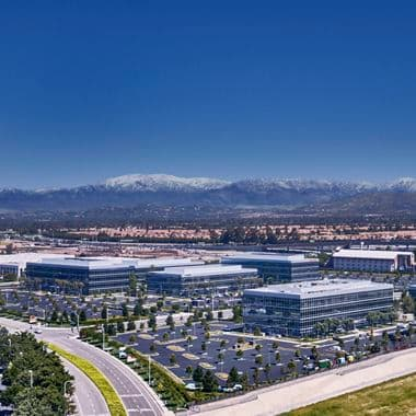 Aerial view of Discovery Park in Irvine, CA.