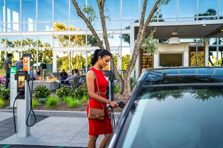 Lifestyle photography of the EV charging stations at Discovery Park - 15555 Laguna Canyon Road in Irvine, CA