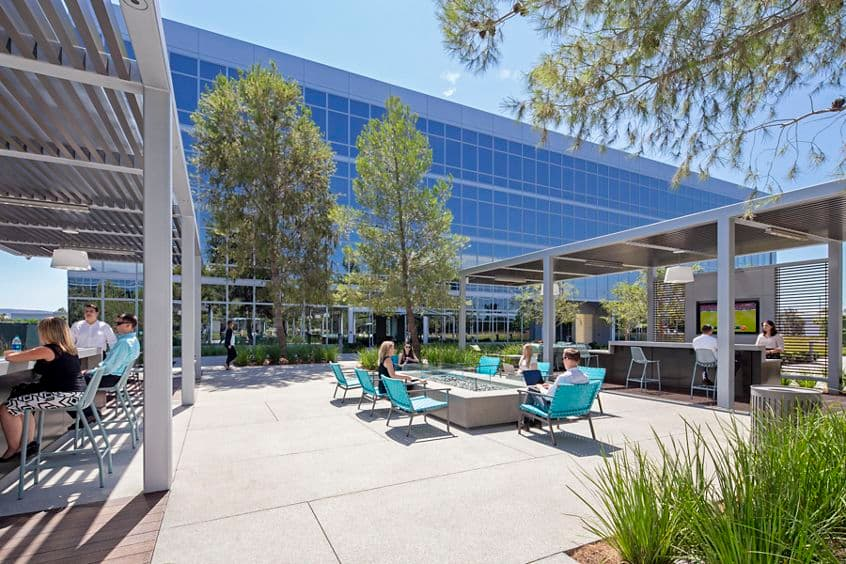 Lifestyle photography of the Commons and new outdoor furniture at The Quad - Discovery Park in Irvine, CA