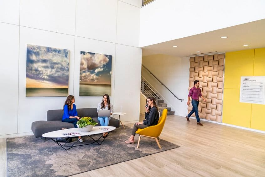 Lifestyle photography of the building lobby at Discovery Park - 15231 Laguna Canyon Road in Irvine, CA