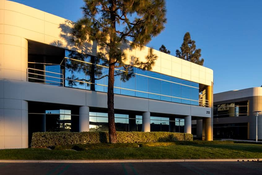 Exterior view of 213 Technology Drive in Irvine, CA.