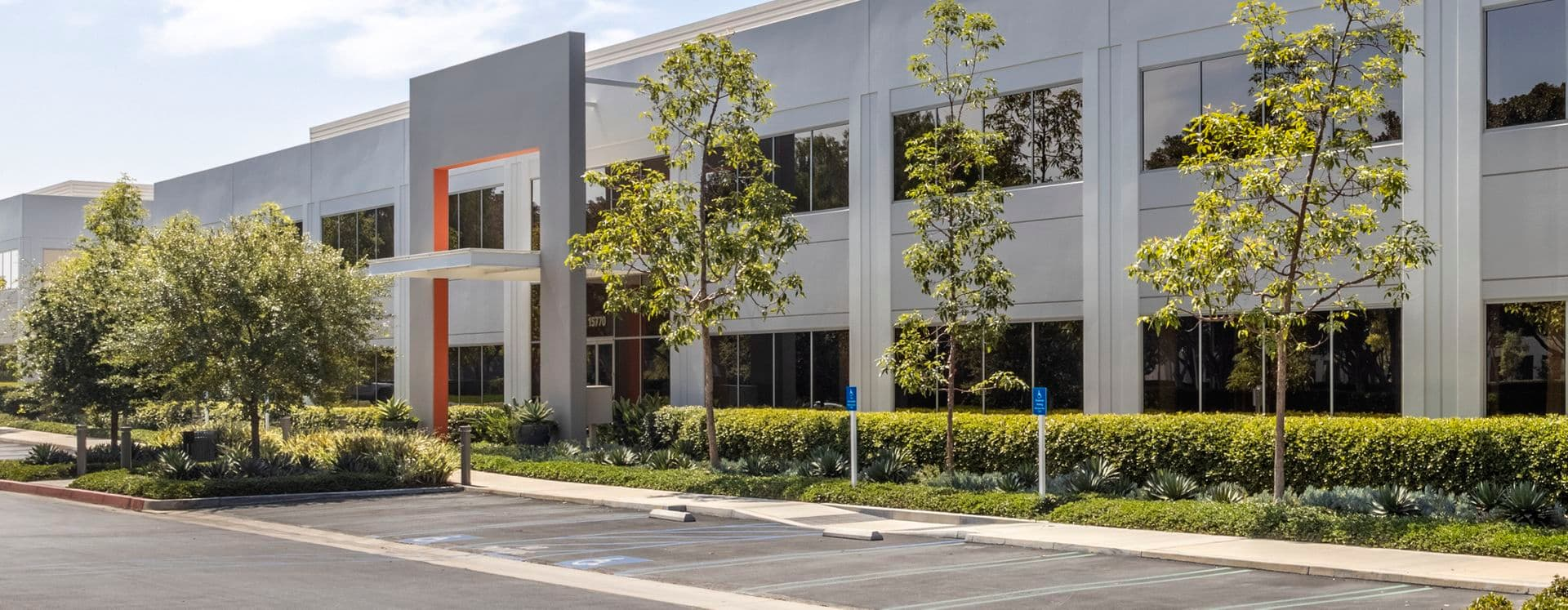 Exterior view photography of 15770 Laguna Canyon Road in Irvine, CA.