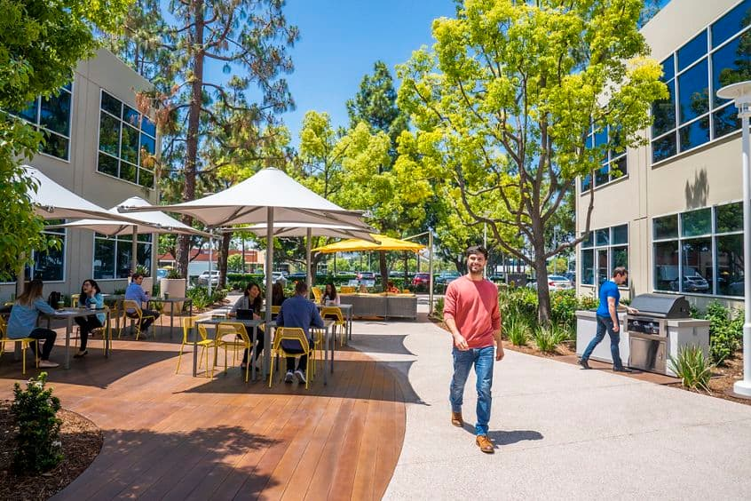 Lifestyle photography of the outdoor workspace between 38 and 36 Technology at Lakeview Business Center in Irvine, CA