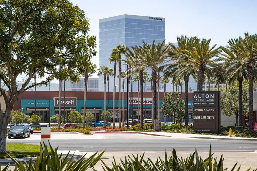 Exterior view of Alton Marketplace from 80 Technology at Lakeview Business Center in Irvine, CA.