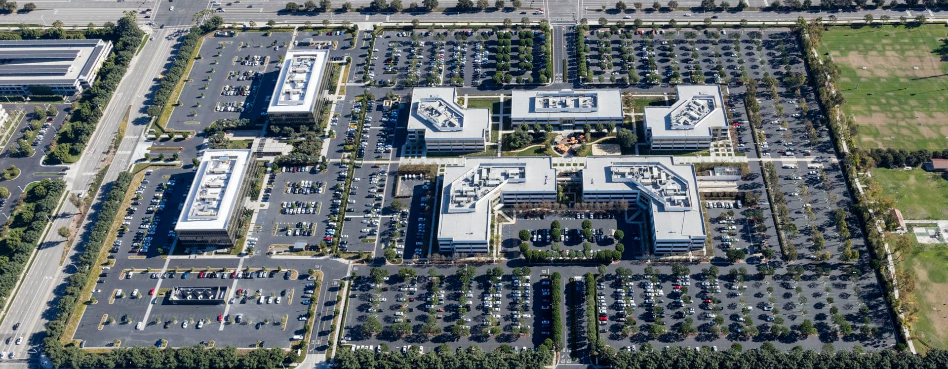 Aerial photography of Sand Canyon Business Center in Irvine, CA