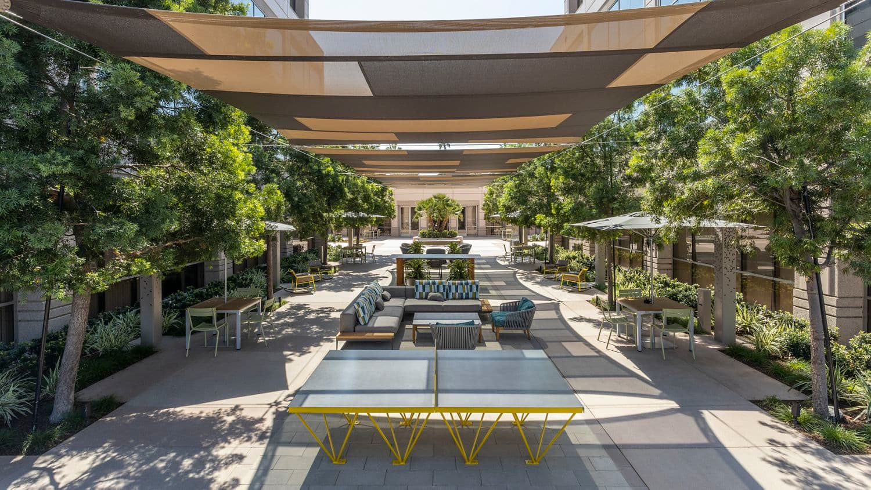 Exterior view of Spectrum Court Outdoor Workspace in Irvine, CA.