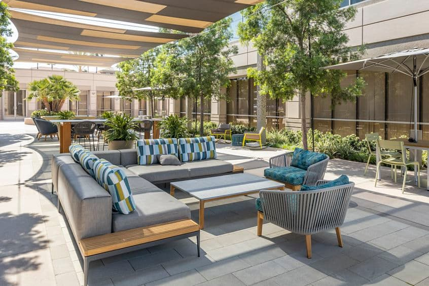 Exterior view of Spectrum Court Outdoor Workspace in Irvine, CA.