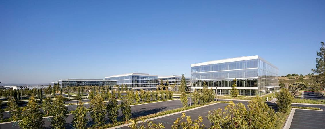 Exterior key shots of Spectrum Terrace office building in Irvine, California.