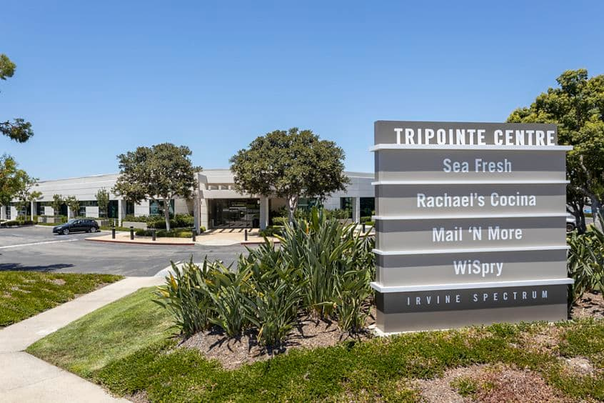 Exterior view of monument signage at Tripointe in Irvine, CA