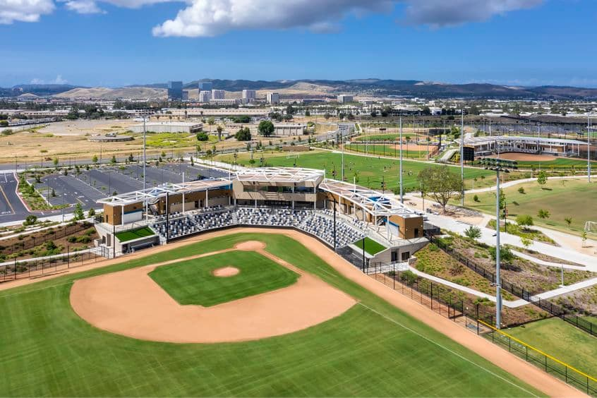 Aerial photography of the baseball stadium at the Orange County Great Park in Irvine, CA
