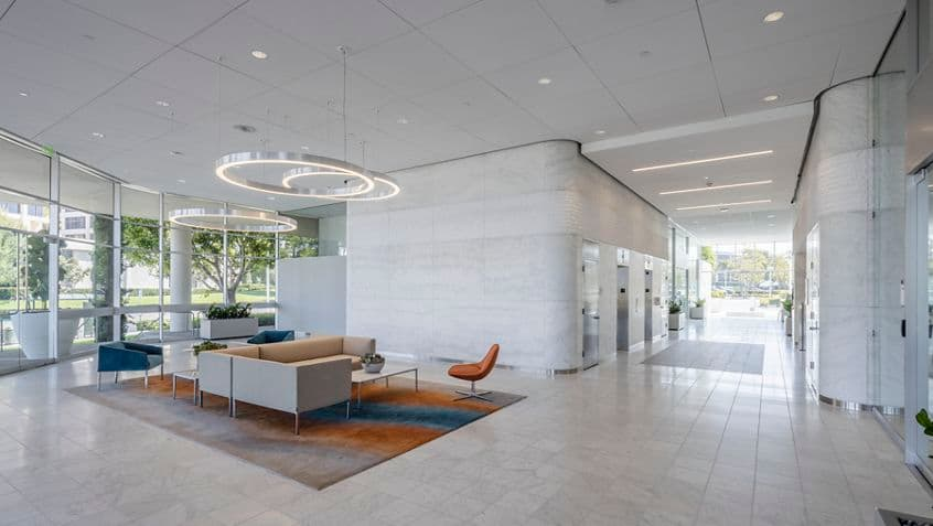 Interior view of lobby at 450 Newport Center Drive in Newport Beach, CA.