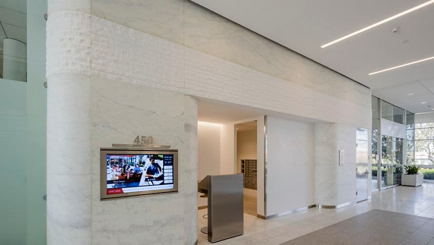 Interior view of lobby at 450 Newport Center Drive in Newport Beach, CA.