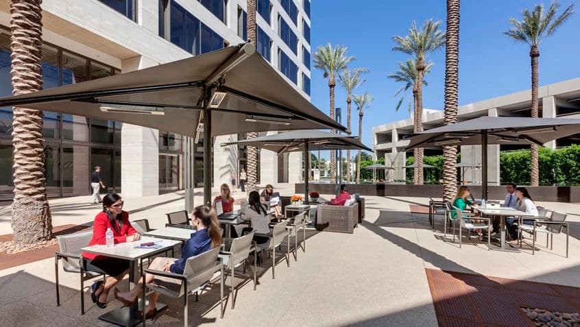 Outdoor workspace at 520 Newport Center Drive.