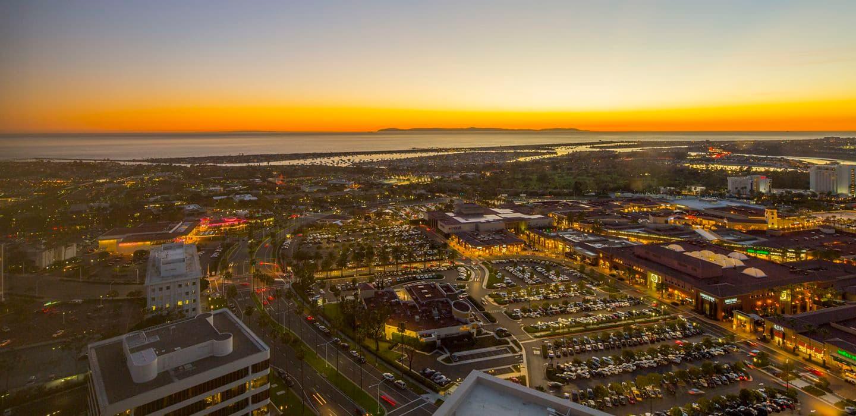 Evening views from 520 Newport Center Drive office building in Newport Center. Lamb 2015.