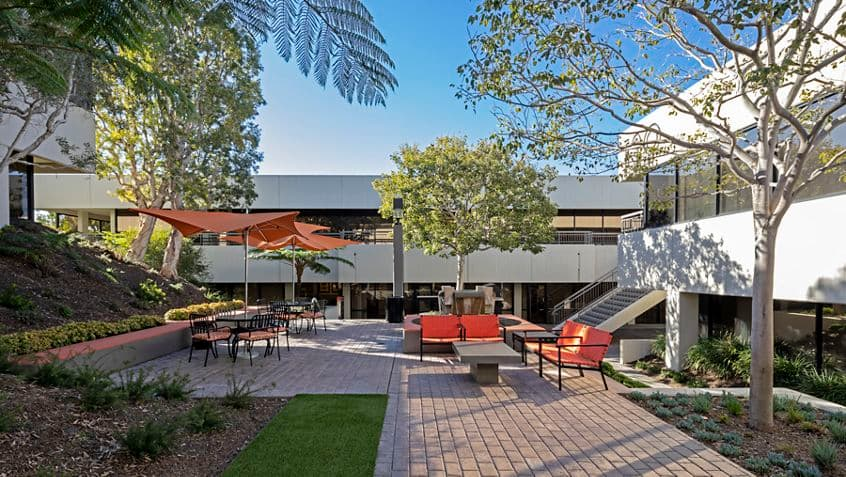 After photography of the outdoor workspace reinvestment at Gateway Plaza in Newport Beach, CA