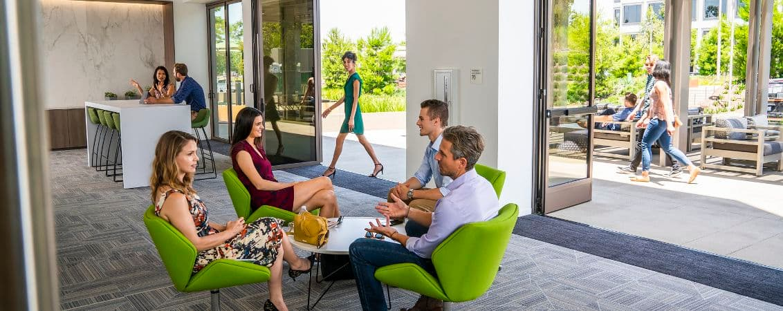 Lifestyle photography fo the conference center and connected patio at UCI Research Park - 5301 California Avenue in Irvine, CA