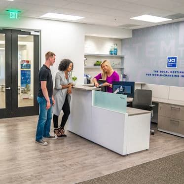 Lfiestyle photography of the customer resource center (CRC) at UCI Research Park - 5251 California Avenue, Suite 140 in Irvine, CA
