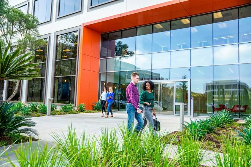 Lifestyle photography of the building entrance at UCI Research Park - 5291 California Avenue in Irvine, CA