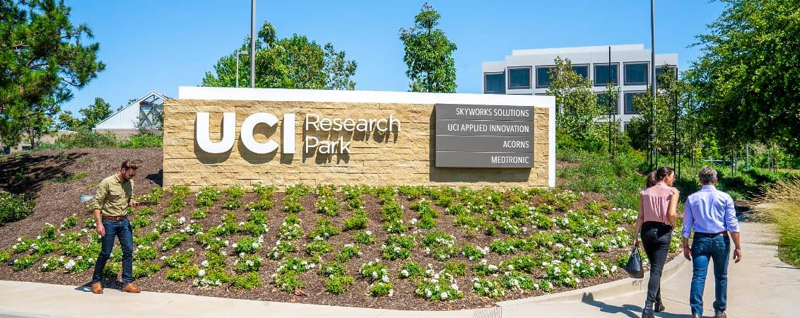Lifestyle photography of the monument signage for UCI Research Park in Irvine, CA