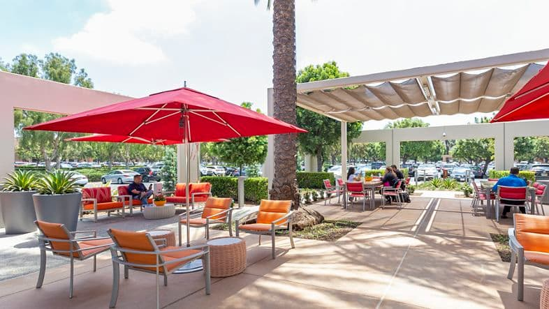 Photography of shared outdoor space for Cafe 350 and The Commons at Market Place Center in Irvine, CA