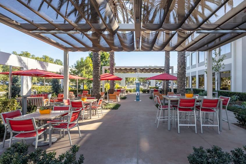Exterior view of commons patio near Cafe 350 at 350 Commerce in Market Place Center in Irvine, CA.