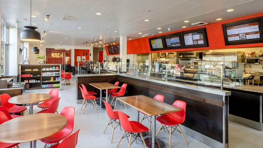 Interior view of Cafe 350 in 350 Commerce at Market Place Center in Irvine, CA.