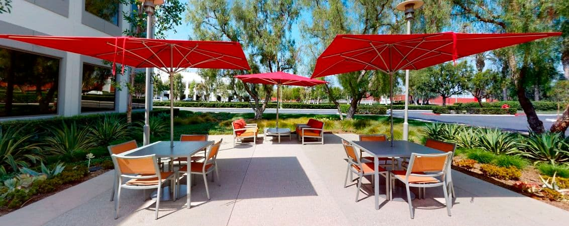 Exterior photography of Outdoor Workspace at 3240 El Camino Real at Market Place Center, Irvine CA.