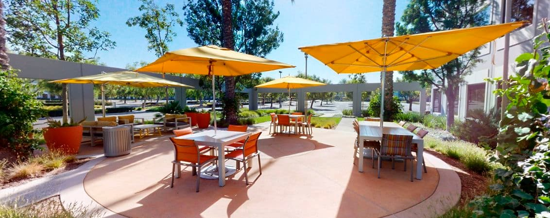 Exterior photography of Outdoor Workspace at 440 Exchange at Market Place Center, Irvine CA.