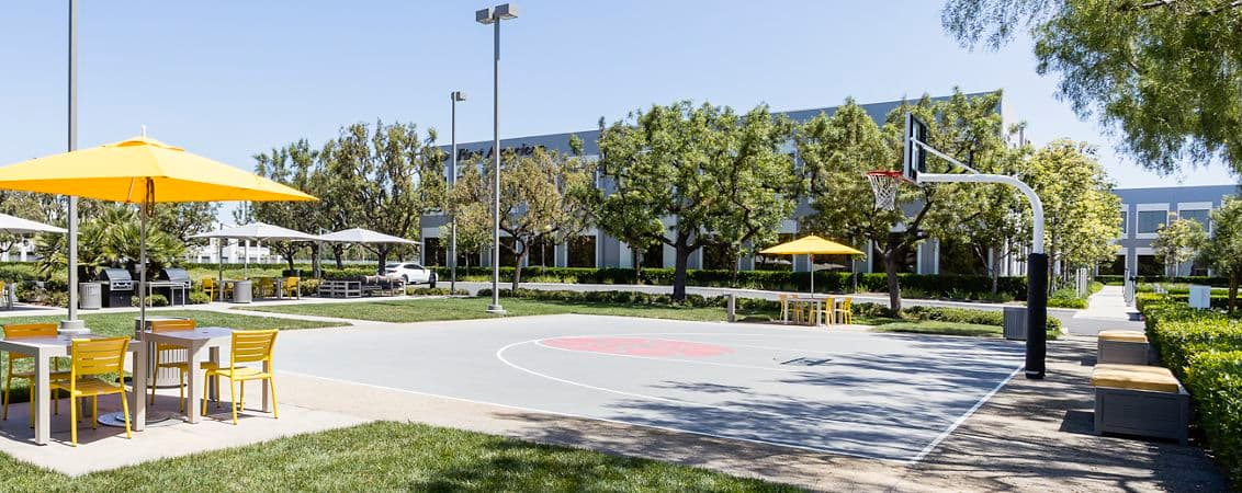 Exterior view of basketball court at The Commons at 250 Commerce at Market Place Center in Irvine, CA.